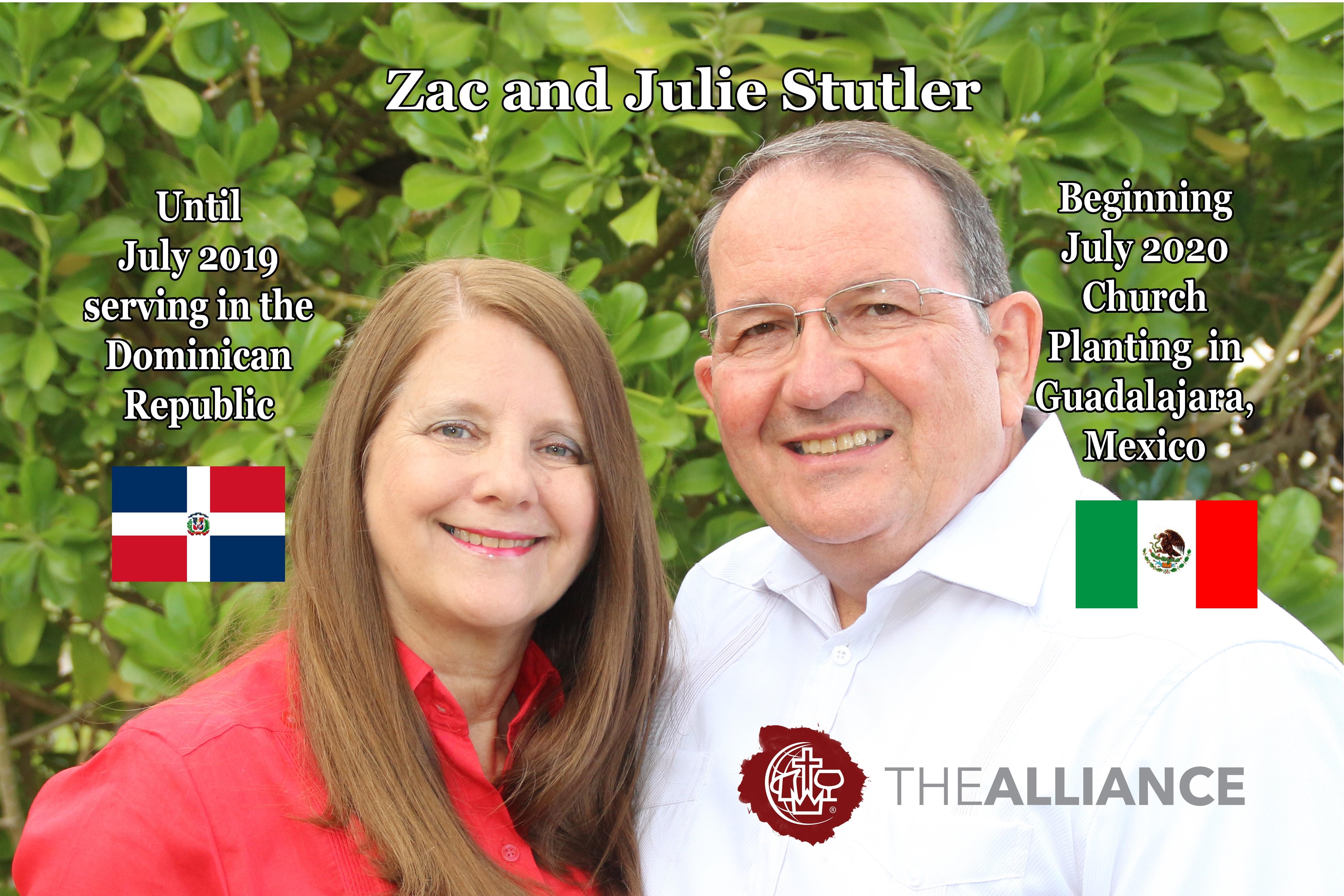 Zac and Julie Stutler Prayer Card 2019